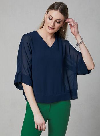 ¾ Sleeve Kimono Blouse, Blue, hi-res,  sheer, chiffon, spring 2019
