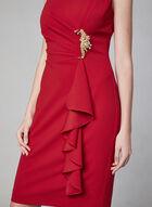 Cachet - Robe avec drapé et broche en cristaux, Rouge, hi-res