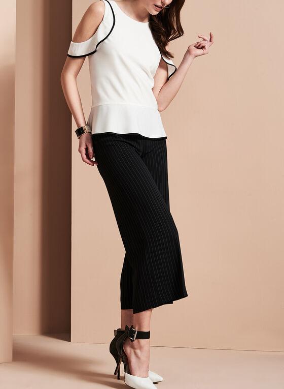 Stripe Print Wide Leg Culotte Pants , Black, hi-res