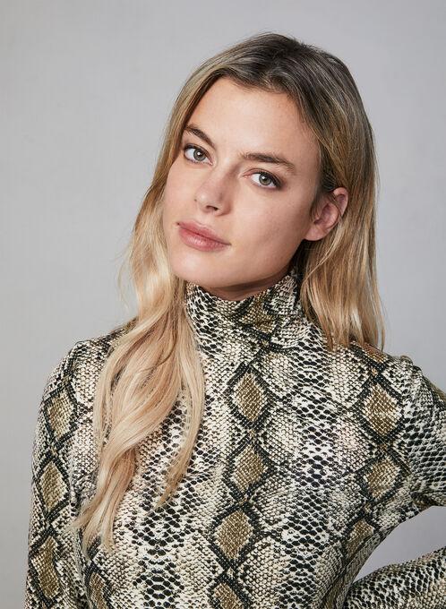 Alison Sheri - Snakeskin Print Turtleneck, Brown, hi-res