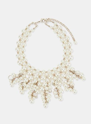 Pearl Bib Necklace, Off White, hi-res
