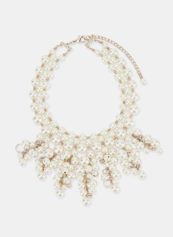 Pearl Bib Necklace, Off White, hi-res
