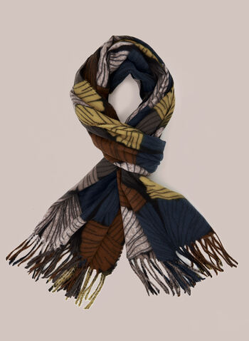 Fan Print Scarf, Yellow,  Fall winter 2020, fringe, hem, scarf, fan print, wool