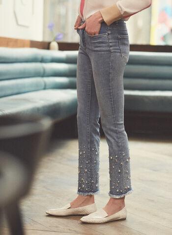Pearl Embellished Flare Leg Jeans, Blue,  jeans, flare leg, pearl, rhinestone, pockets, fringe, spring summer 2021