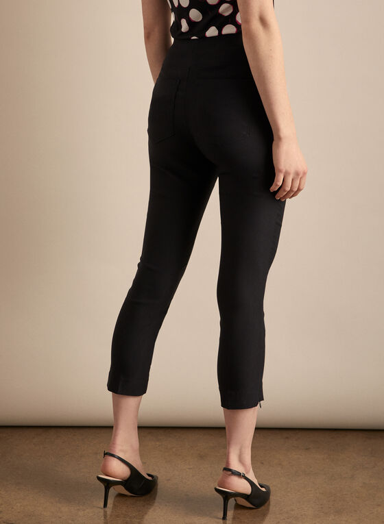 Zipper Hem Pull-On Capris, Black