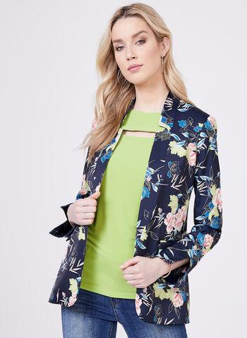 Floral Print Satin Blazer, Blue, hi-res