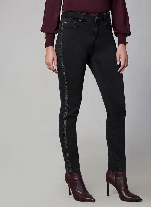 Jeans à jambe étroite et bordure peau de serpent, Gris
