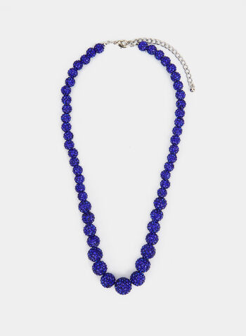 Graduated Fireball Necklace , Blue,  necklace, fireball, crystal, fall winter 2018