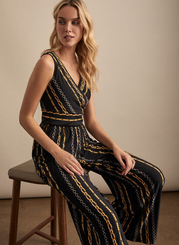 Maggy London - Chain Print Jumpsuit, Black,  jumpsuit, chain, jersey, v-neck, wrap, crossover, wide leg, spring summer 2020
