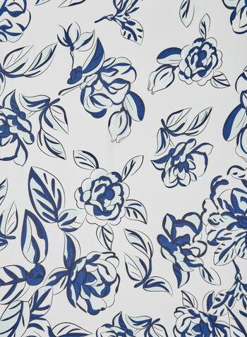 Foulard léger à imprimé floral, Bleu, hi-res,  écharpe, fichu, printemps 2019, fleurs, pivoines