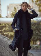 Sleeveless Faux Fur Trim Vest, Black