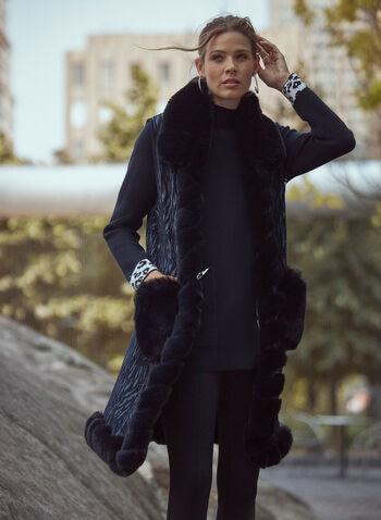 Sleeveless Faux Fur Trim Vest, Black,  fall winter 2021, accessories, warm, cozy, blanket, poncho, faux fur, fur detail, sleeveless, trim, pockets, abstract, burnout, printed, vest, poncho