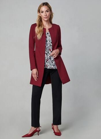 Veste ouverte style redingote, Rouge, hi-res,  veste longue, manches longues, détails zippés, automne hiver 2019