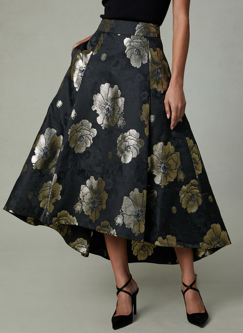 Floral Print Flared Skirt, Black, hi-res