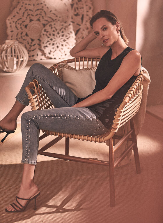 Joseph Ribkoff - Pearl Detail Jeans, Blue