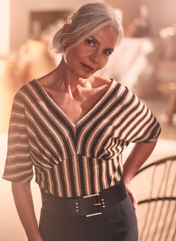 Stripe Print Dolman Sleeve Top, Brown,  top, stripe print, v-neck, dolman sleeves, short sleeves, spring summer 2021