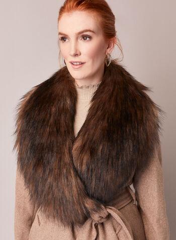 Ellen Tracy - Manteau ceinturé en laine mélangée, Brun,  automne hiver 2020, manteau, laine, fausse fourrure, ceinture, cintré