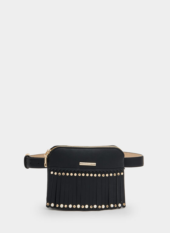 Fringe Belt Bag, Black