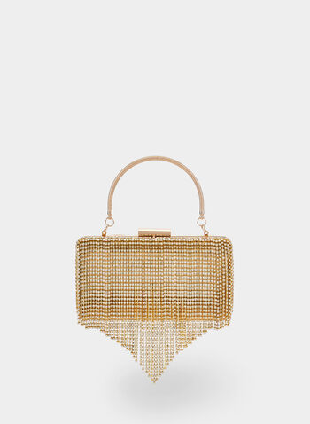 Cascading Crystal Handbag, Gold,  fall winter 2019, glitter, evening clutch