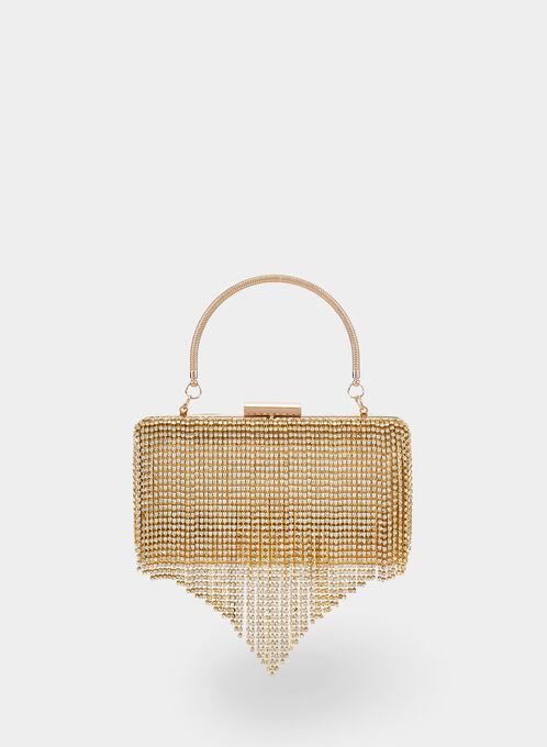 Cascading Crystal Handbag, Gold, hi-res