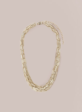 Mesh Chain Necklace, Gold,  necklace, chain, mesh, golden, fall winter 2020