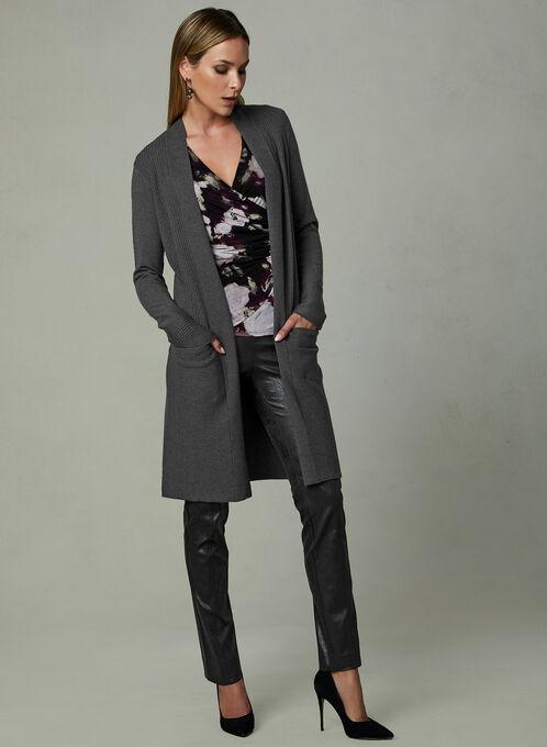 Long Open Front Cardigan , Grey, hi-res