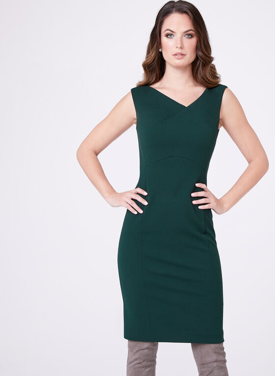 Asymmetric Neck Sheath Dress, Green, hi-res