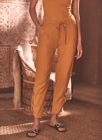 Chapter One - Linen Pull-On Pants, Yellow,  chapter one, spring summer 2021, linen, linen blend, capris, pants,