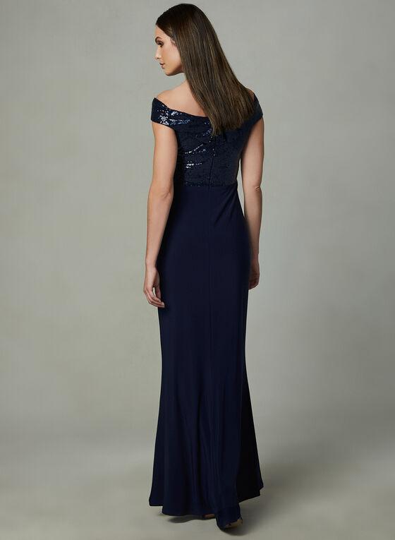 Marina - Off The Shoulder Sequin Dress, Blue, hi-res