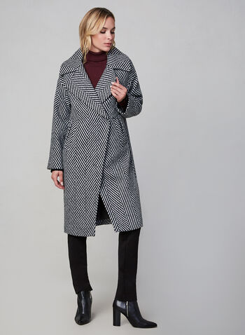 SOSKEN - Herringbone Coat, Black, hi-res,  SOSKEN, wool, coat, long sleeves, herringbone, Bouclé, notch collar, fall 2019, winter 2019