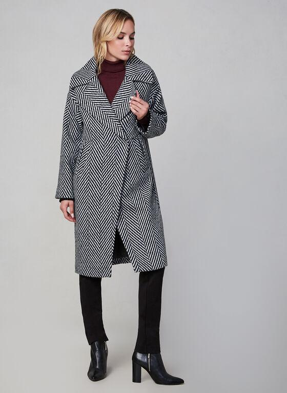 SOSKEN - Manteau à imprimé chevrons, Noir, hi-res