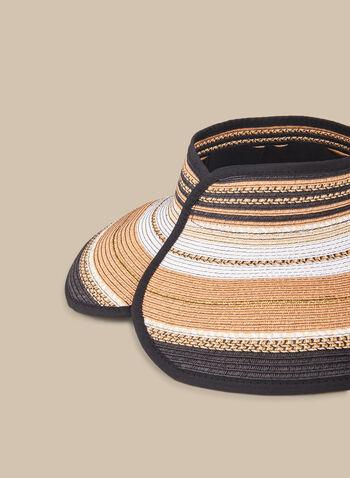 Capeline Straw Visor , Black,  spring summer 2020, straw, paper, stripe print, rollable