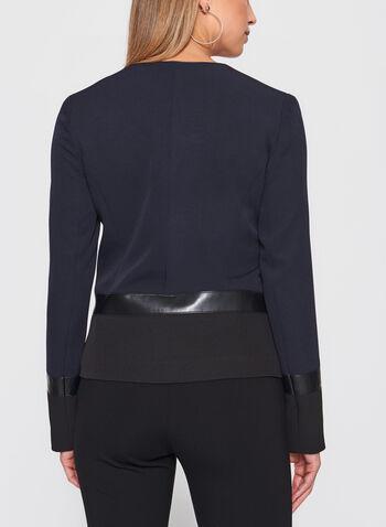 Vex - Blazer bicolore avec détails similicuir et métal, Noir, hi-res