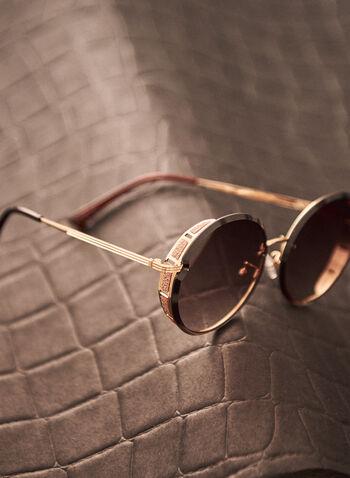 Lunettes de soleil à bordures pailletées, Or,  accessoire, lunettes de soleil, arrondi, branche dorée, métal, bordures pailletées, printemps été 2021