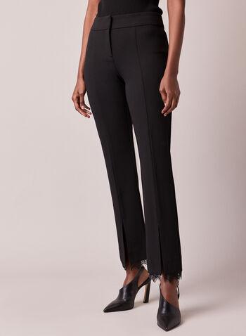 Pantalon étroit à détails dentelle, Noir,  automne hiver 2020, pantalon, jambe étroite, taille haute, plis, fente, crêpe, dentelle