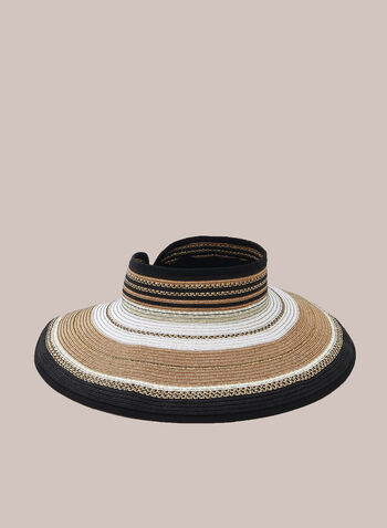 Capeline Straw Visor , Black,  spring summer 2020, straw, paper, stripe print, rollable