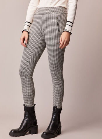 Slim Leg Houndstooth Pants, Black,  fall winter 2020, pull-on pants, pull-ons, pants, slim leg, high waited, holiday, holiday 2020, gifts