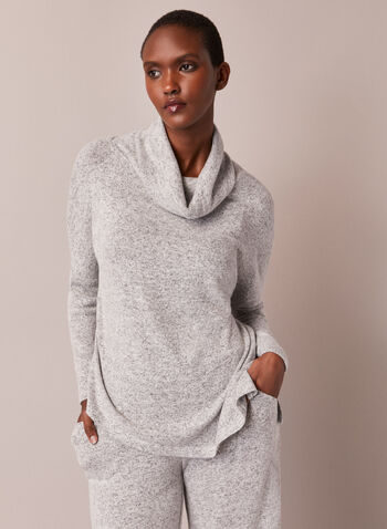 Cowl Neck Asymmetric Knit Top, Grey,  top, cowl neck, long sleeves, heather, knit, fall winter 2020