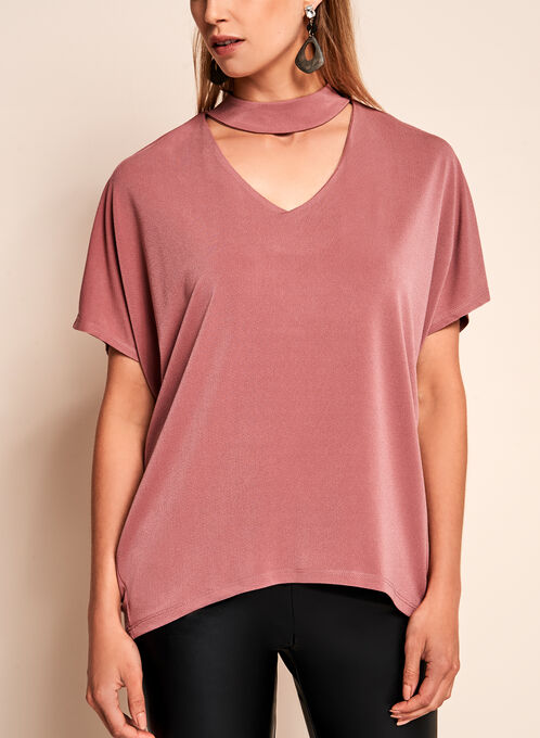 Crepe Knit Choker Top, Pink, hi-res