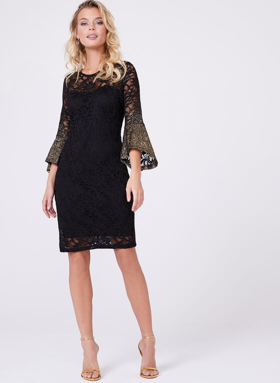 ¾ Sleeve Floral Lace Dress, Black, hi-res