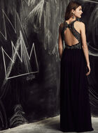 Decode 1.8 - V-Neck Mesh Gown , Blue, hi-res