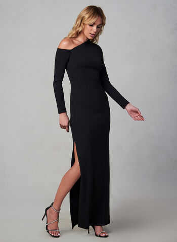 Vince Camuto - Crepe Dress, Black, hi-res,  Vince Camuto, dress, occasion dress, gown, long sleeves, floor length, crepe, asymmetrical, fall 2019, winter 2019