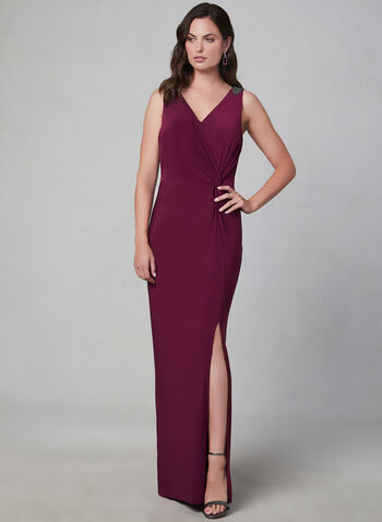Alex Evenings - Beaded Jersey Dress, Purple, hi-res,  fall winter 2019, jersey, long dress, evening dress, gown, sleeveless, straight cut dress