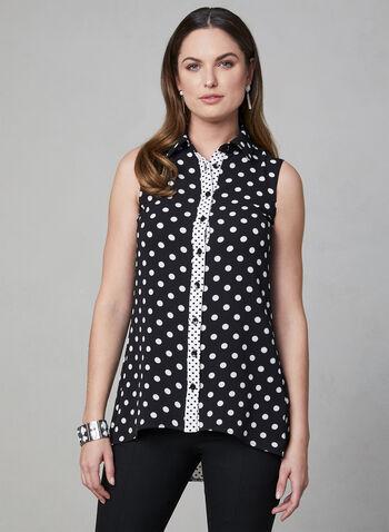Polka Dot Print Sleeveless Top, Black, hi-res,  sleeveless, button down,