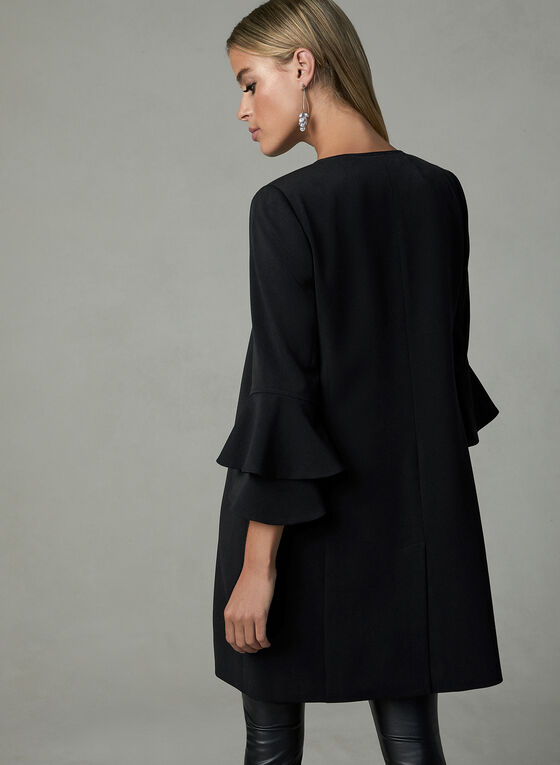 Long Ruffle Sleeve Jacket, Black, hi-res