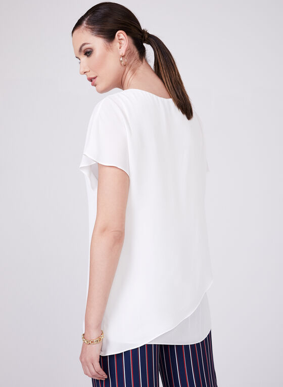 Conrad C - Layered Chiffon Top, Off White, hi-res