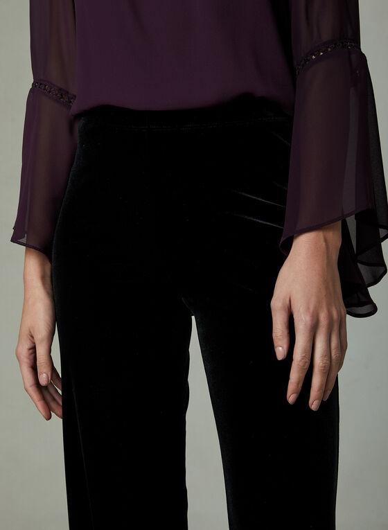 Velour Wide Leg Pants, Black, hi-res