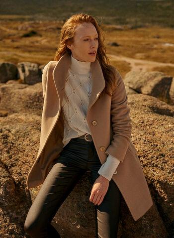 Mallia - Wool & Cashmere Blend Coat, Beige,  coat, high collar, pockets, wool, cashmere, fall winter 2020