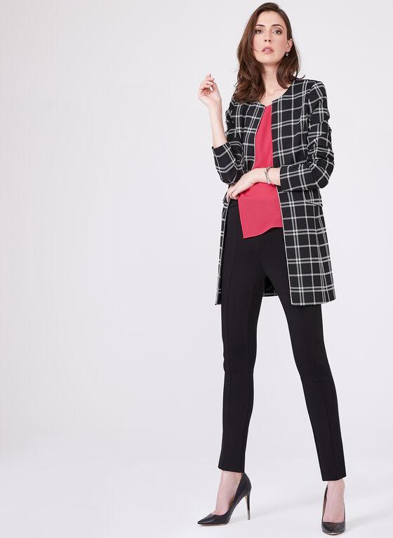 Veste longue imprimée carreaux contrastants, Noir, hi-res