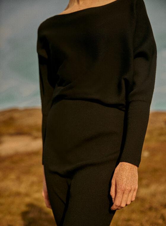 Ribbed Knit Dolman Sleeve Dress, Black